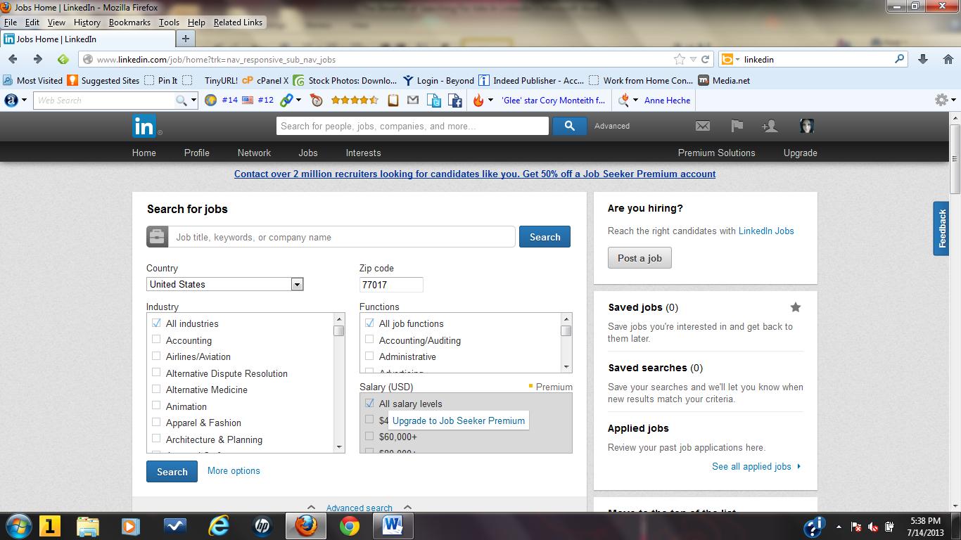 search jobs on LinkedIn