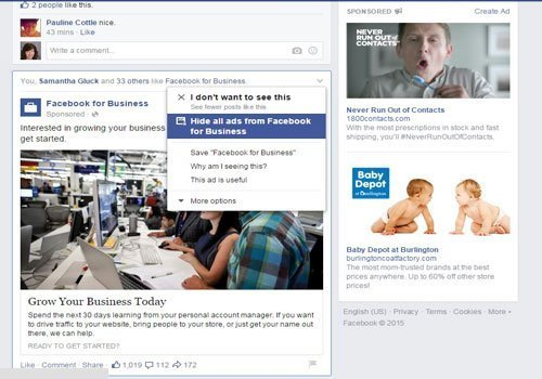 Facebook feed ads