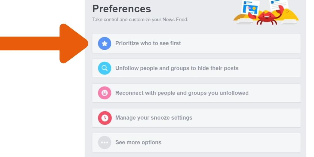 prioritize who to see first on FB