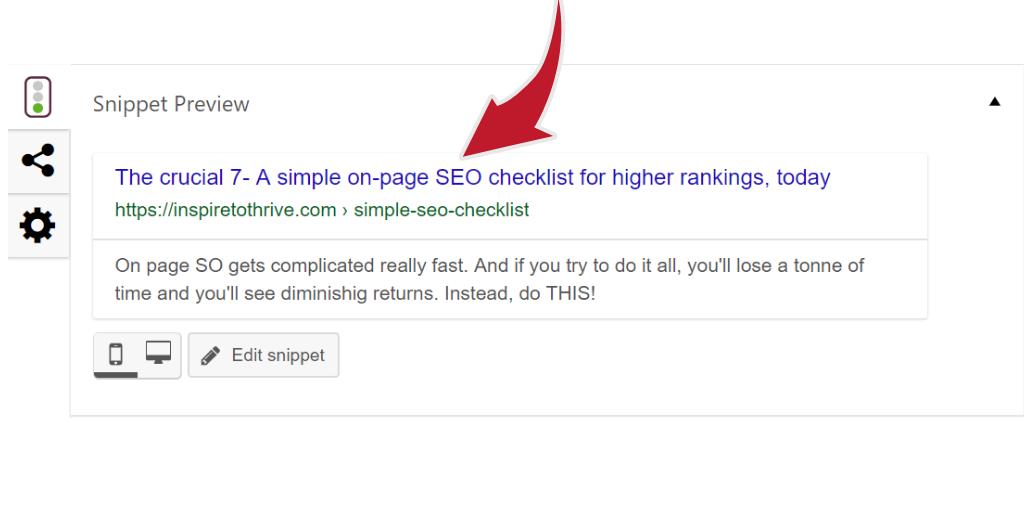Simple SEO checklist- meta title