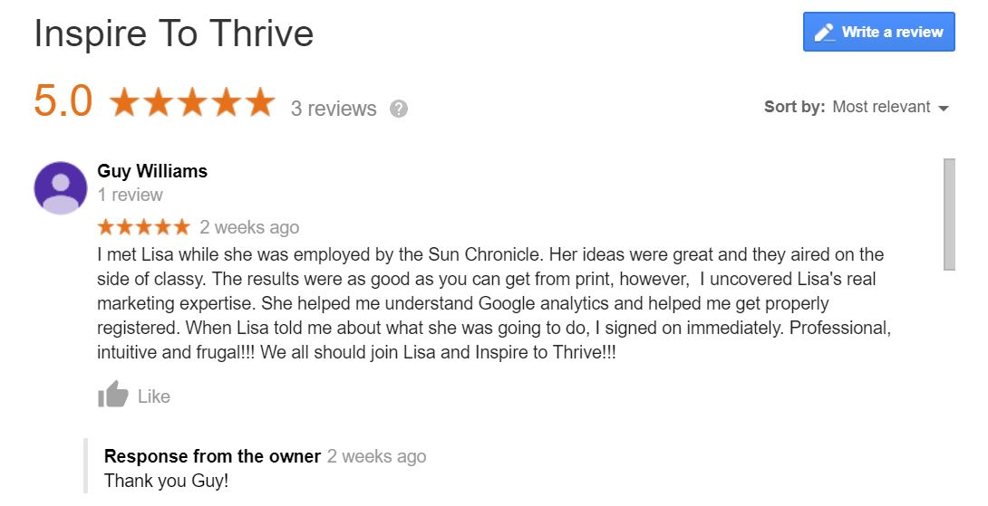 review of Lisa of Inspire to Thrive