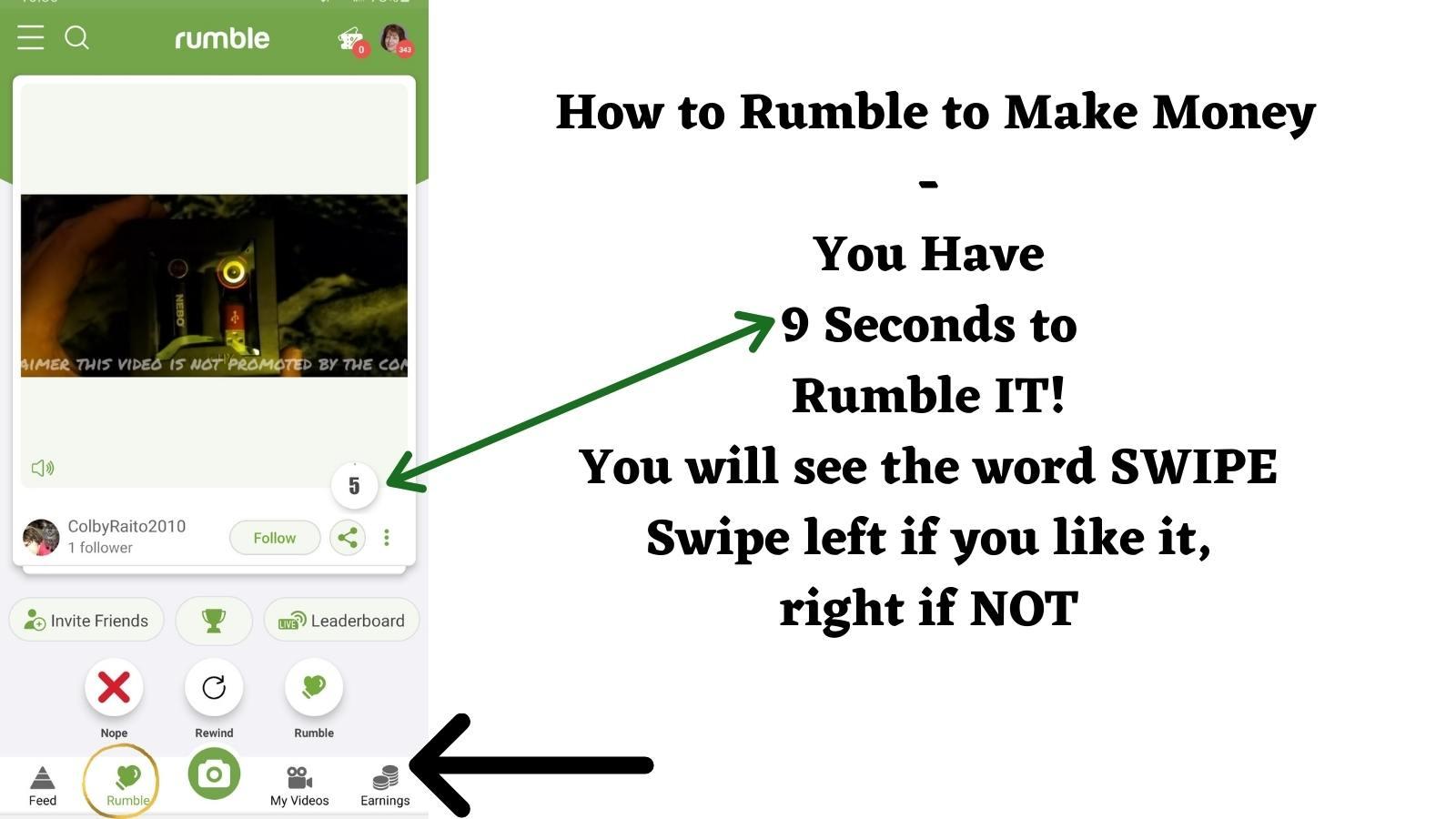 how to swipe on rumble