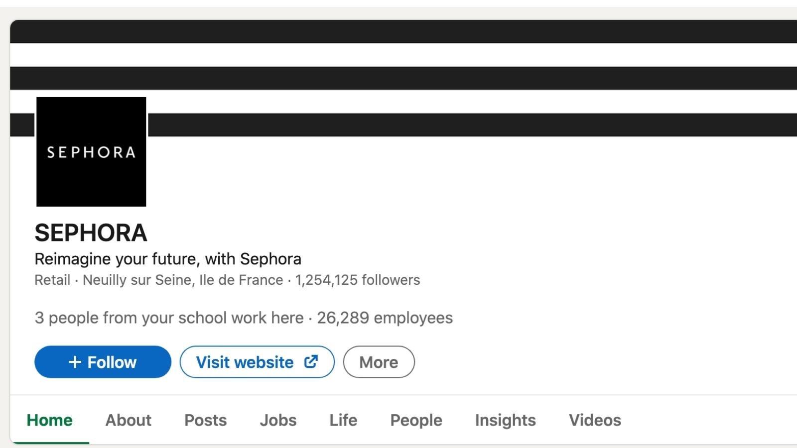 social media brand building with Sephora on LinkedIn