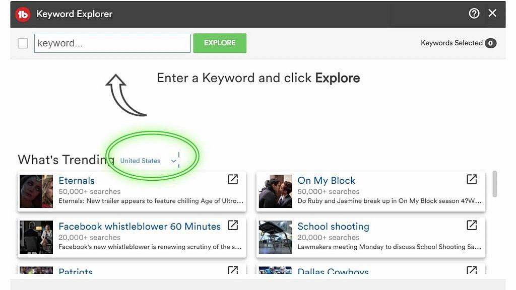 Keyword Explorer in TubeBuddy for video seo